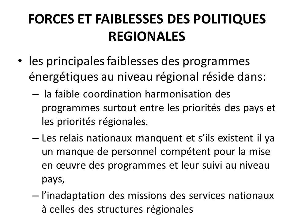 FORCES ET FAIBLESSES DES POLITIQUES REGIONALES les principales faiblesses des programmes énergétiques au niveau régional réside dans: – la faible coor