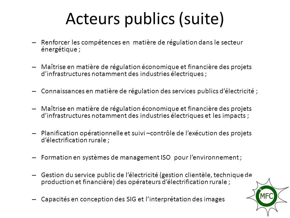 Acteurs publics (suite) – Renforcer les compétences en matière de régulation dans le secteur énergétique ; – Maîtrise en matière de régulation économi