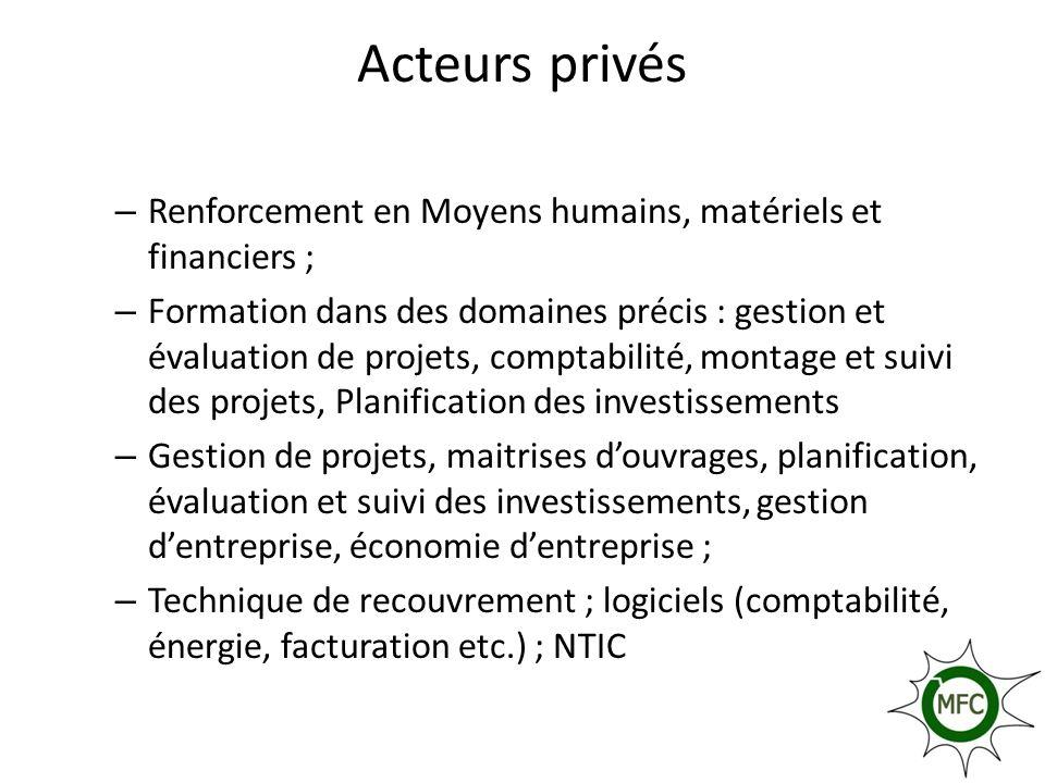 Acteurs privés – Renforcement en Moyens humains, matériels et financiers ; – Formation dans des domaines précis : gestion et évaluation de projets, co