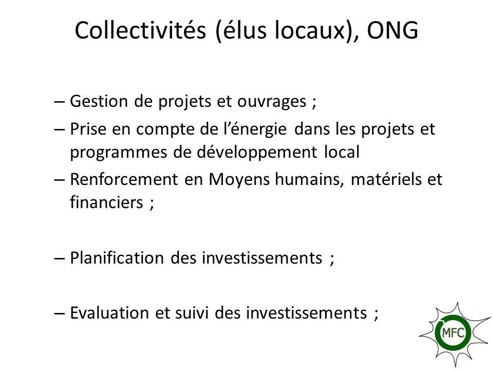 Collectivités (élus locaux), ONG – Gestion de projets et ouvrages ; – Prise en compte de lénergie dans les projets et programmes de développement loca