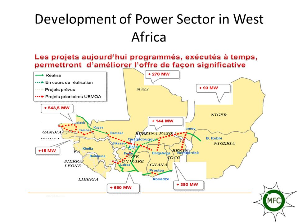 EXPERTISE ET EXPERIENCE ACQUISE La planification énergétiques (a travers des sessions de formation, et les actions concrètes sur le terrain) Lélaboration de politique énergétique : de nombreux cadres ont été également formés dans ce domaine ; cependant, pour lélaboration de leur politique nationale (à quelques exceptions près) nos pays continuent de faire appel à lexpertise étrangère ; Mise en œuvre des projets : des compétences existent aussi, dans ce domaine ; pour preuve la quasi-totalité des projets sont mis en œuvre par des équipes nationales, même si on note une présence quasi permanente des bailleurs de fonds.