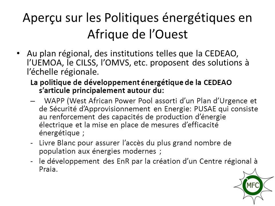 Aperçu sur les Politiques énergétiques en Afrique de lOuest Au plan régional, des institutions telles que la CEDEAO, lUEMOA, le CILSS, lOMVS, etc. pro