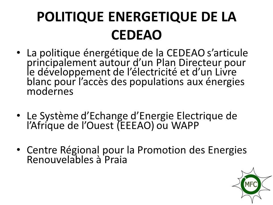 Politique et Programmes de lUEMOA La politique énergétique de lUEMOA, sarticule autour de la Politique Energétique Communautaire (PEC) déclinées en projet et programmes régionaux: – Programme Biomasse Energie, – Initiative Régionale pour lEnergie Durable – IRED).