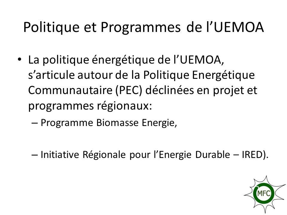 POLITIQUE ENERGETIQUE DE LUEMOA La Politique Energétique Commune (PEC) de lUEMOA a été élaborée en 2001 Les objectifs de la PEC sont entre autres: – garantir la sécurité des approvisionnements énergétiques de l Union; – mettre en valeur et assurer la gestion optimale des ressources énergétiques de l Union en systématisant l interconnexion des réseaux électriques ; – promouvoir les énergies renouvelables ; – promouvoir l efficacité énergétique ; – développer et améliorer l accès des populations rurales de l Union aux services énergétiques; – contribuer à la préservation de l environnement