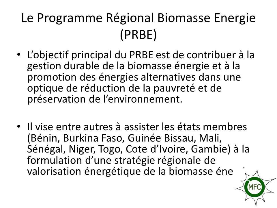Le Programme Régional Biomasse Energie (PRBE) Lobjectif principal du PRBE est de contribuer à la gestion durable de la biomasse énergie et à la promot