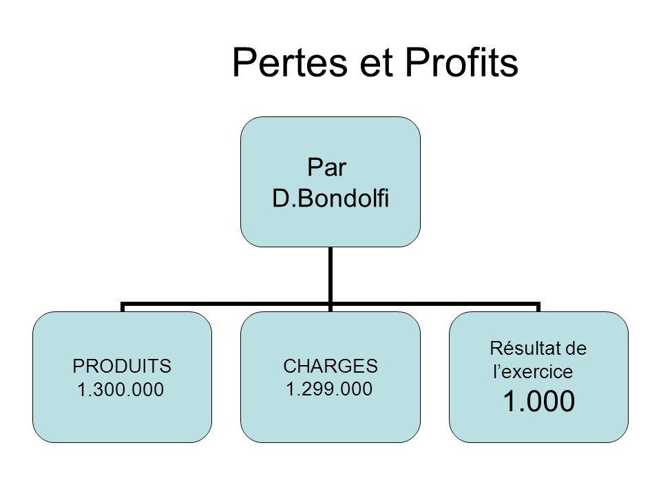 1.5 Pertes et Profits Par D.Bondolfi PRODUITS 1.300.000 CHARGES 1.299.000 Résultat de lexercice 1.000