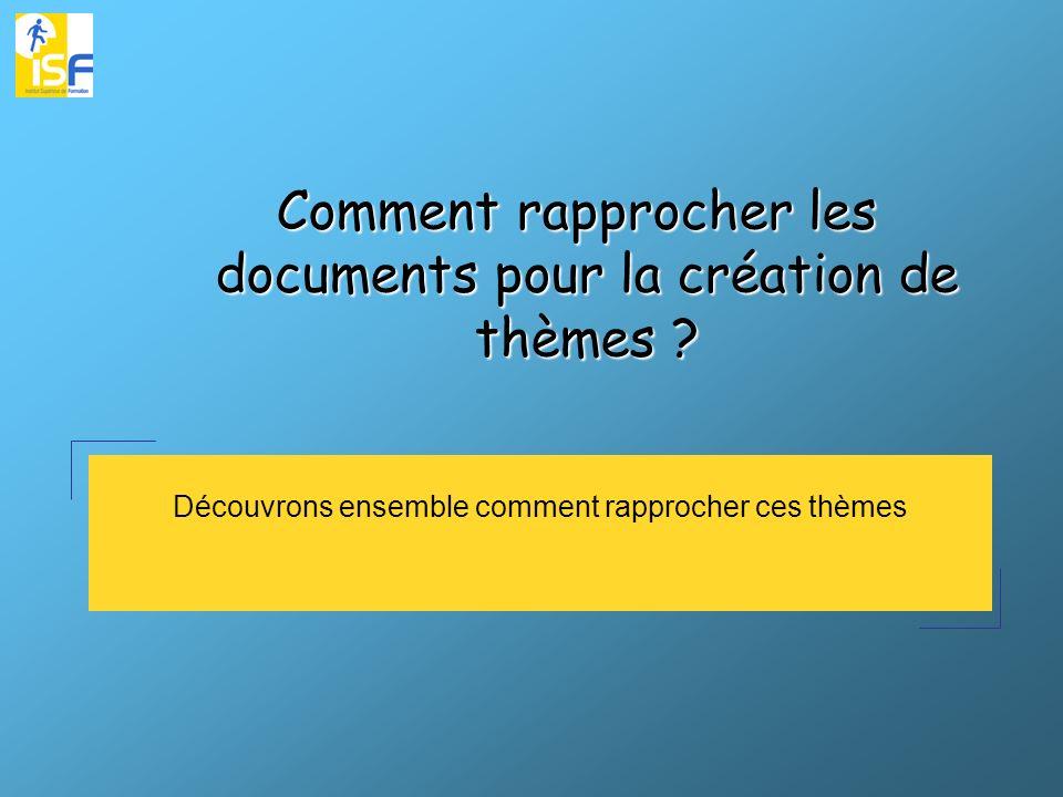 Découvrons ensemble comment rapprocher ces thèmes Comment rapprocher les documents pour la création de thèmes ?