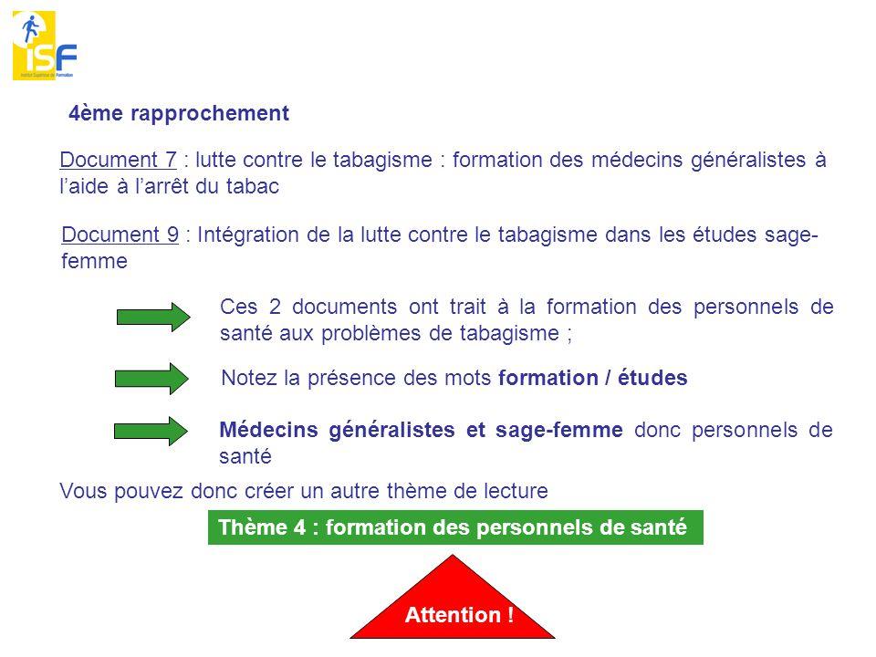 4ème rapprochement Document 7 : lutte contre le tabagisme : formation des médecins généralistes à laide à larrêt du tabac Document 9 : Intégration de