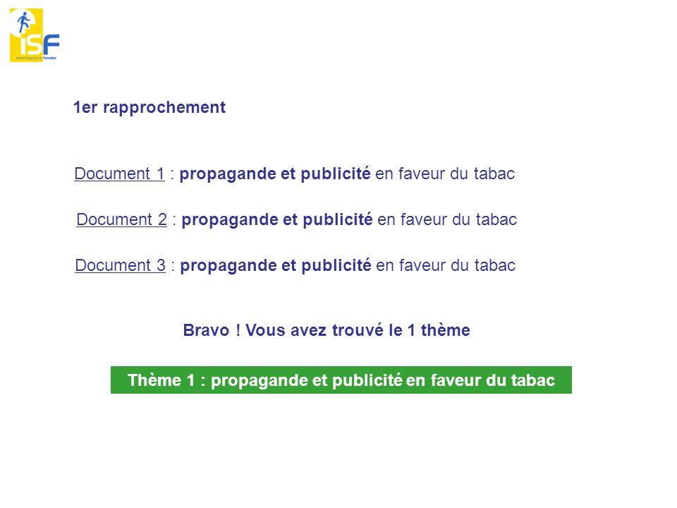 1er rapprochement Document 1 : propagande et publicité en faveur du tabac Document 2 : propagande et publicité en faveur du tabac Document 3 : propaga