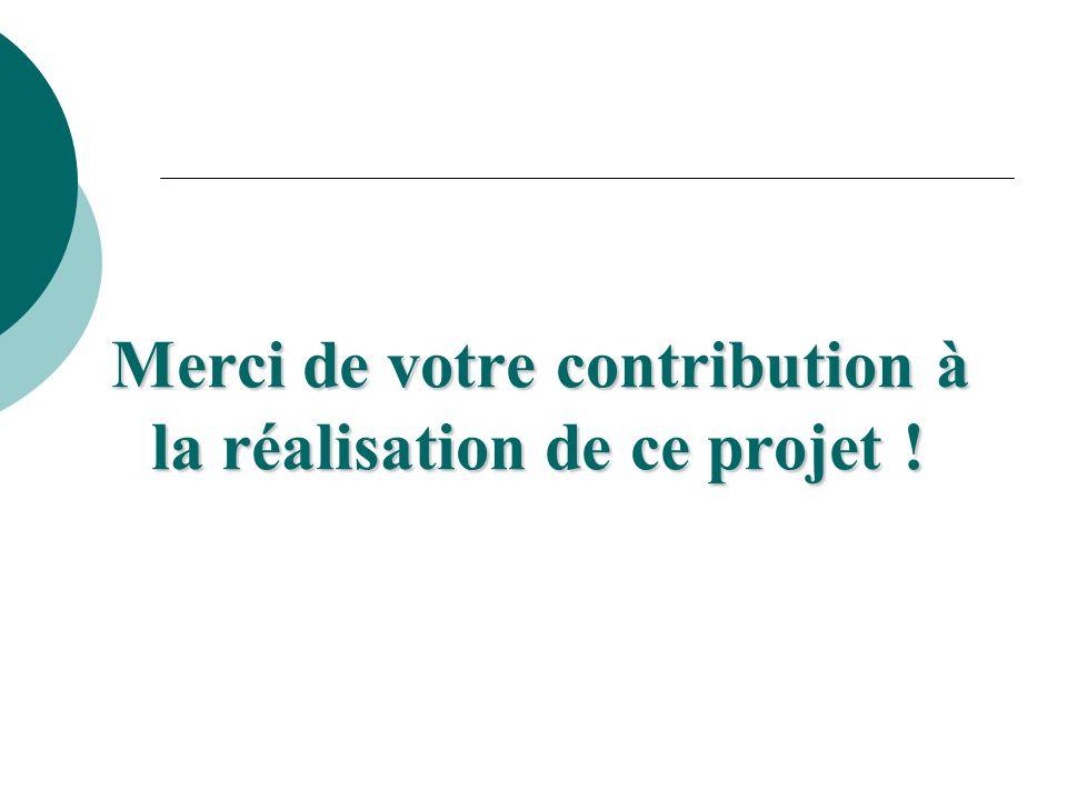 Merci de votre contribution à la réalisation de ce projet !