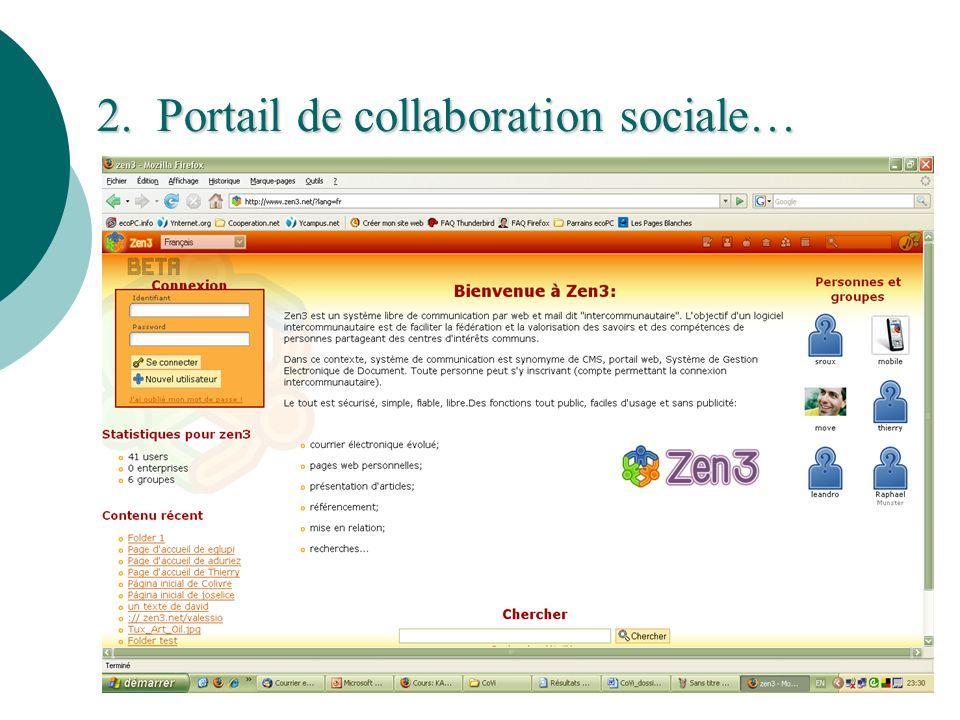 Portail de collaboration sociale www.zen3.net Portail de collaboration sociale www.zen3.net www.zen3.net