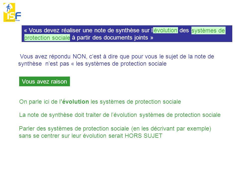 « Vous devez réaliser une note de synthèse sur lévolution des systèmes de protection sociale à partir des documents joints » évolution systèmes de pro