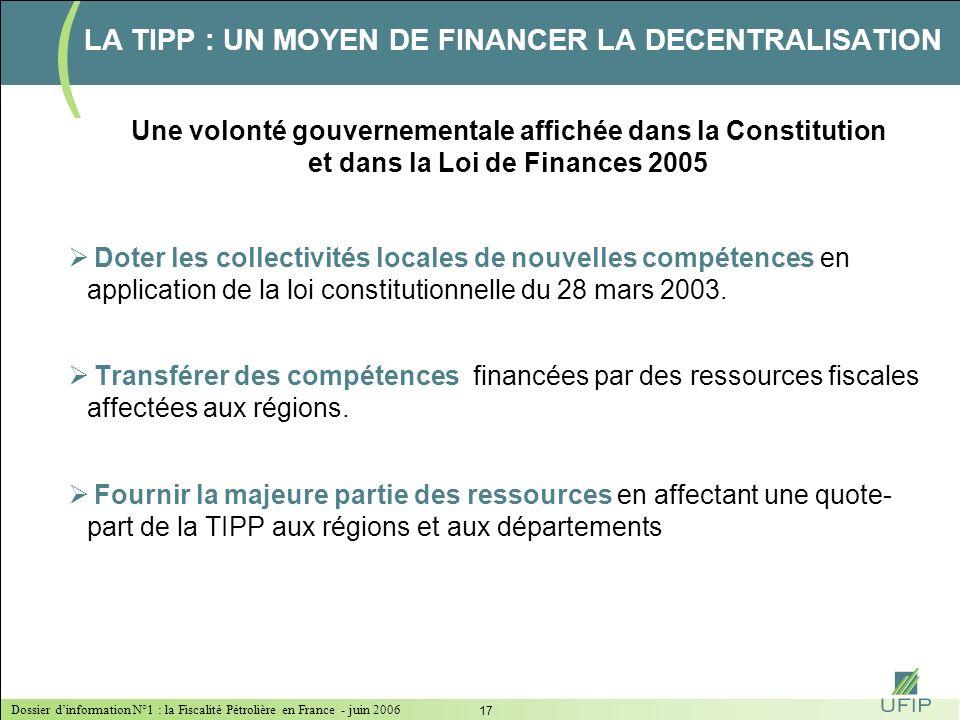 Dossier dinformation N°1 : la Fiscalité Pétrolière en France - juin 2006 16 Source : Commission Européenne LA TIPP : UNE FISCALITÉ QUI INFLUENCE LE MO