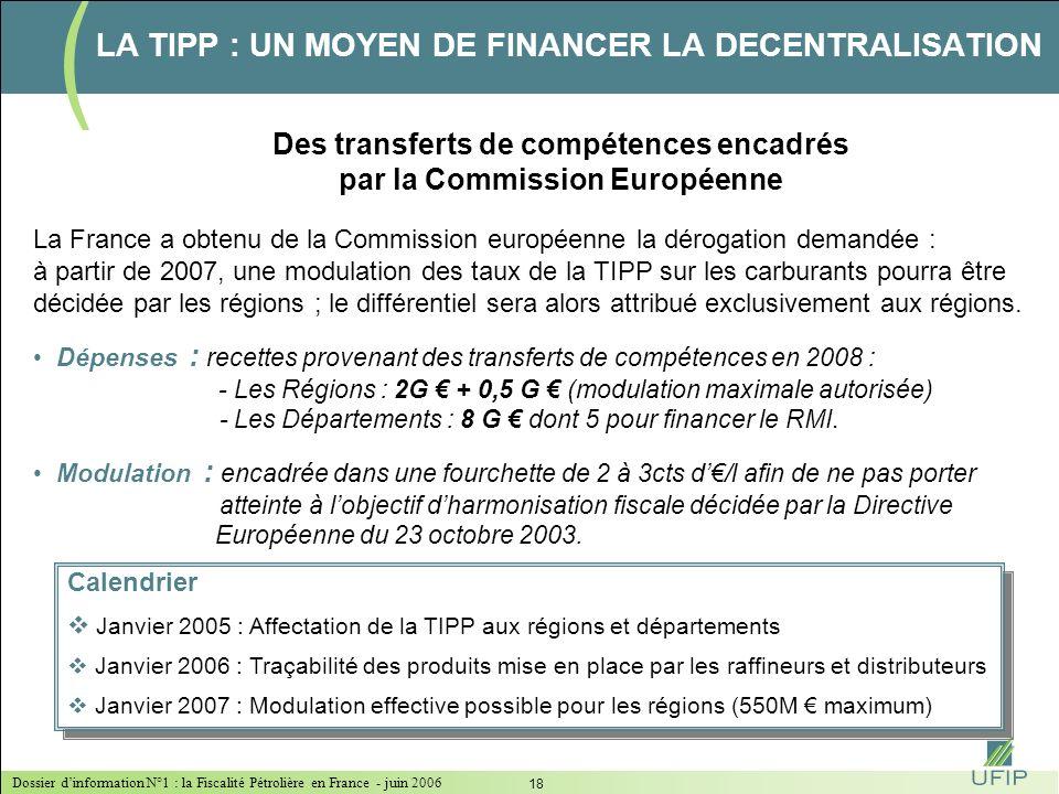 Dossier dinformation N°1 : la Fiscalité Pétrolière en France - juin 2006 17 Une volonté gouvernementale affichée dans la Constitution et dans la Loi d