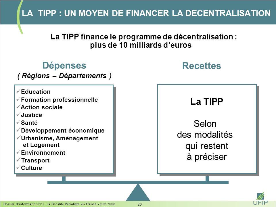 Dossier dinformation N°1 : la Fiscalité Pétrolière en France - juin 2006 19 Décision du Conseil des Ministres européens du 24/10/2005 (Applicable du 1