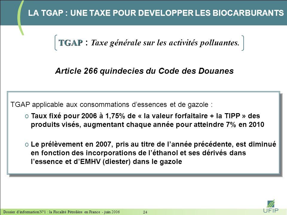 Dossier dinformation N°1 : la Fiscalité Pétrolière en France - juin 2006 23 la TGAP : une taxe pour développer les biocarburants LA TGAP Une taxe pour