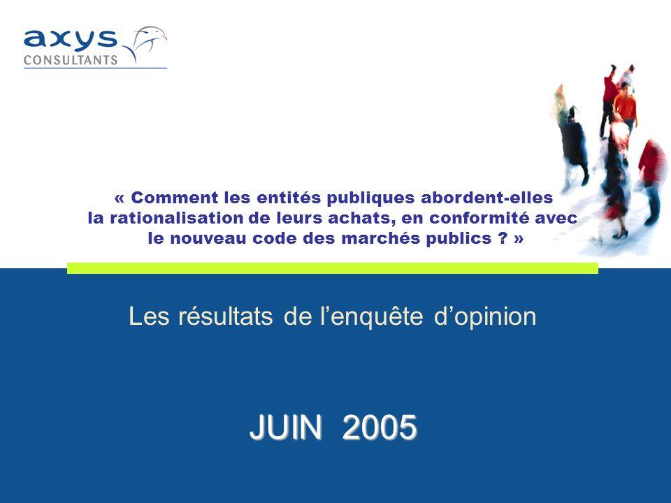 Les résultats de lenquête dopinion JUIN 2005 « Comment les entités publiques abordent-elles la rationalisation de leurs achats, en conformité avec le nouveau code des marchés publics .