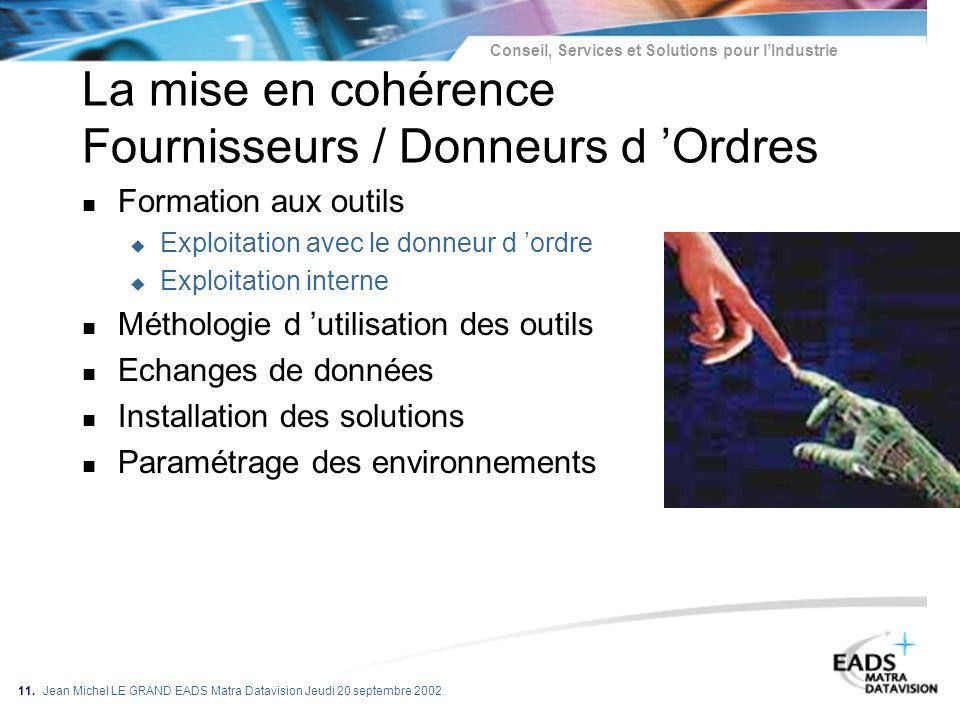 Conseil, Services et Solutions pour lIndustrie 11. Jean Michel LE GRAND EADS Matra Datavision Jeudi 20 septembre 2002 La mise en cohérence Fournisseur