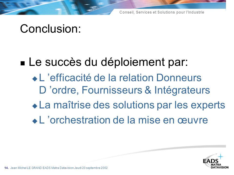 Conseil, Services et Solutions pour lIndustrie 14. Jean Michel LE GRAND EADS Matra Datavision Jeudi 20 septembre 2002 Conclusion: n Le succès du déplo