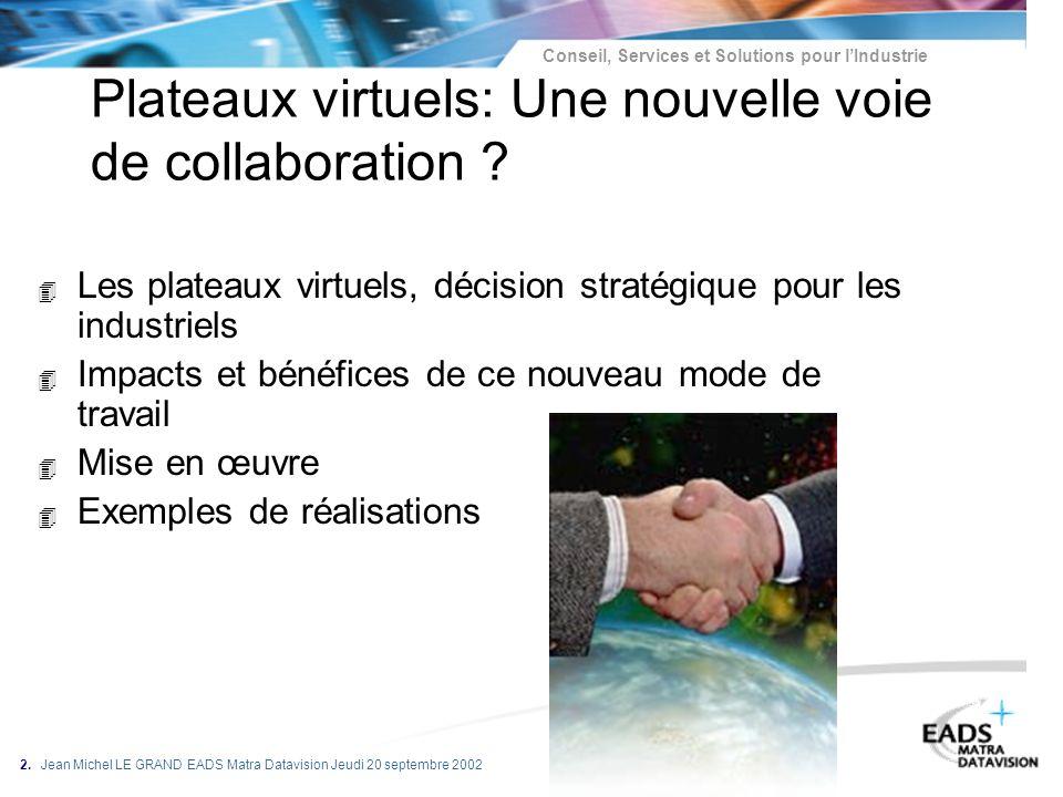 Conseil, Services et Solutions pour lIndustrie 2. Jean Michel LE GRAND EADS Matra Datavision Jeudi 20 septembre 2002 Plateaux virtuels: Une nouvelle v