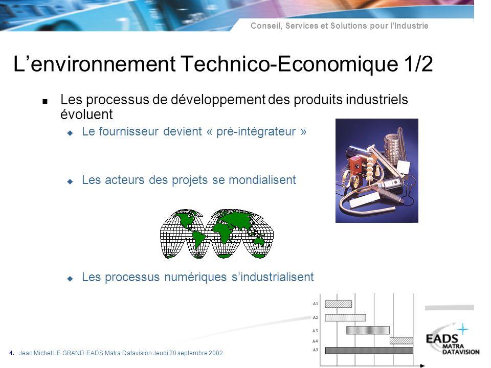 Conseil, Services et Solutions pour lIndustrie 4. Jean Michel LE GRAND EADS Matra Datavision Jeudi 20 septembre 2002 Lenvironnement Technico-Economiqu