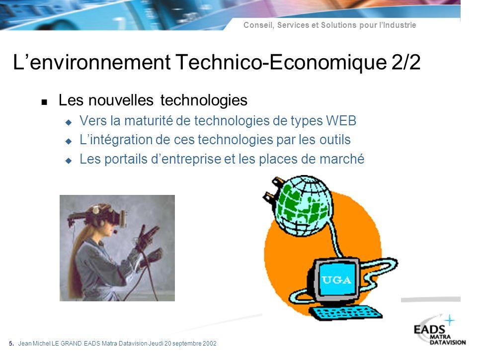 Conseil, Services et Solutions pour lIndustrie 5. Jean Michel LE GRAND EADS Matra Datavision Jeudi 20 septembre 2002 n Les nouvelles technologies u Ve