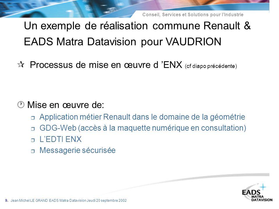 Conseil, Services et Solutions pour lIndustrie 9. Jean Michel LE GRAND EADS Matra Datavision Jeudi 20 septembre 2002 ¶ Processus de mise en œuvre d EN