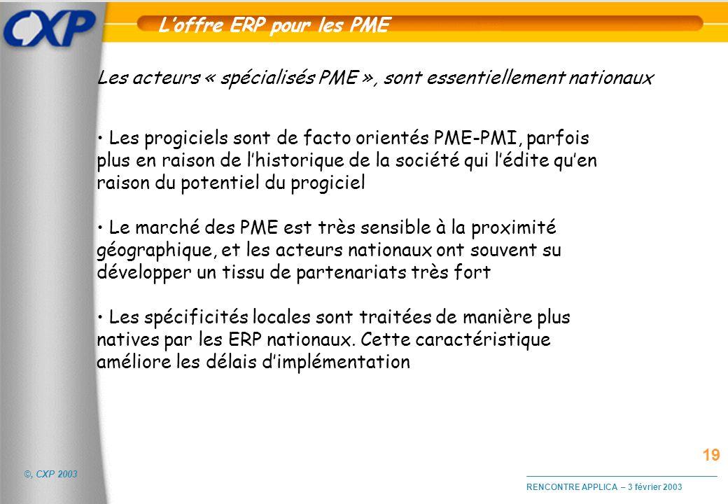 ©, CXP 2003 RENCONTRE APPLICA – 3 février 2003 Les acteurs « spécialisés PME », sont essentiellement nationaux Les progiciels sont de facto orientés P