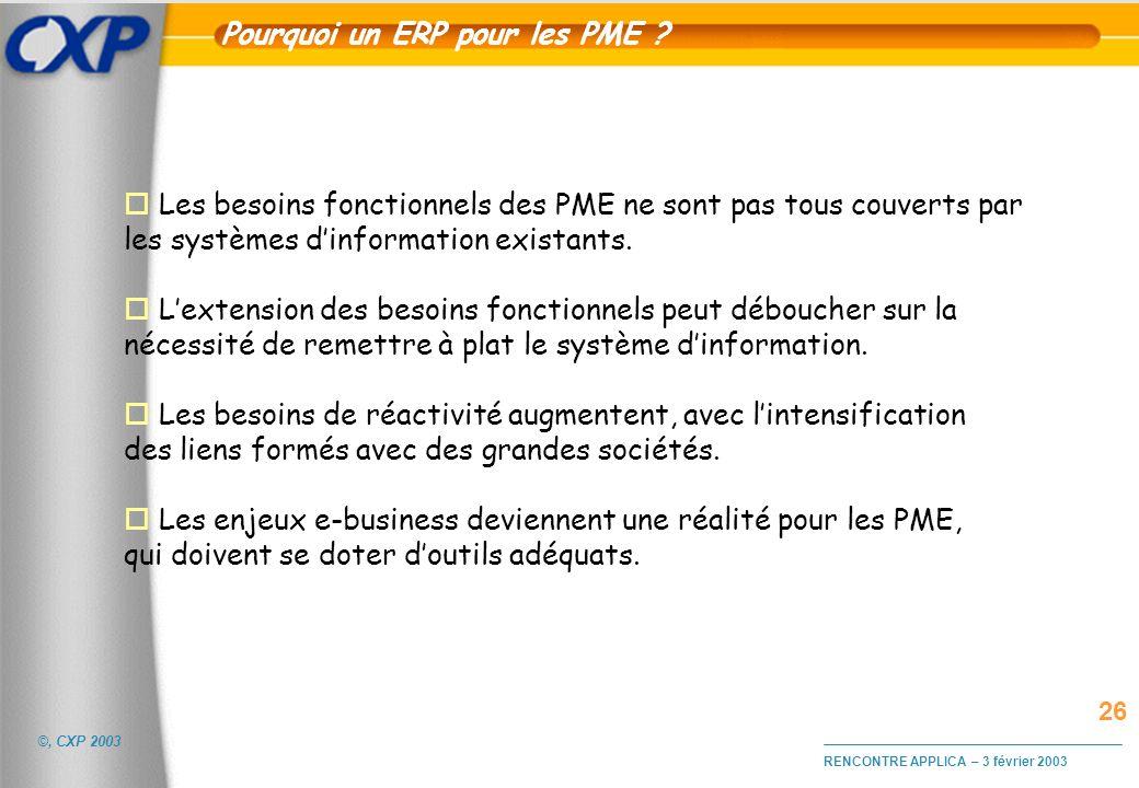©, CXP 2003 RENCONTRE APPLICA – 3 février 2003 Pourquoi un ERP pour les PME ? o Les besoins fonctionnels des PME ne sont pas tous couverts par les sys