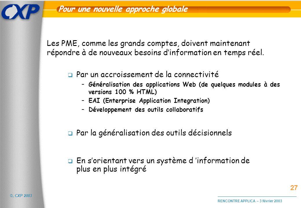 ©, CXP 2003 RENCONTRE APPLICA – 3 février 2003 Pour une nouvelle approche globale Par un accroissement de la connectivité –Généralisation des applicat