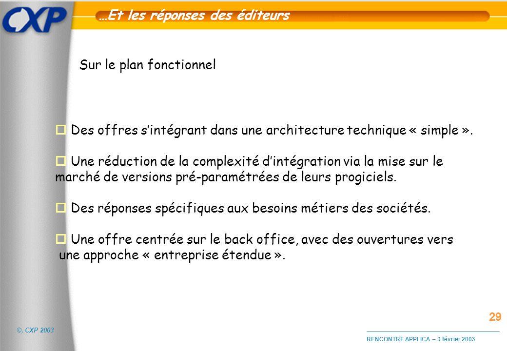 ©, CXP 2003 RENCONTRE APPLICA – 3 février 2003 …Et les réponses des éditeurs o Des offres sintégrant dans une architecture technique « simple ». o Une
