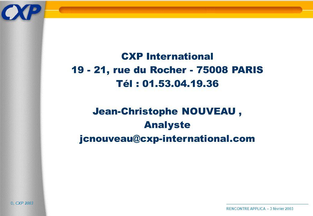 ©, CXP 2003 RENCONTRE APPLICA – 3 février 2003 CXP International 19 - 21, rue du Rocher - 75008 PARIS Tél : 01.53.04.19.36 Jean-Christophe NOUVEAU, An