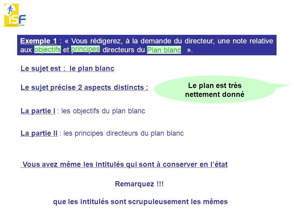Exemple 1 : « Vous rédigerez, à la demande du directeur, une note relative aux objectifs et principes directeurs du plan blanc ».