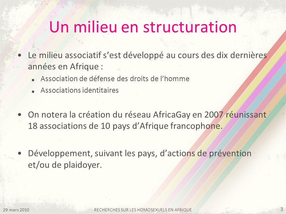 29 mars 2010RECHERCHES SUR LES HOMOSEXUELS EN AFRIQUE 3 Un milieu en structuration Le milieu associatif sest développé au cours des dix dernières années en Afrique : Association de défense des droits de lhomme Associations identitaires On notera la création du réseau AfricaGay en 2007 réunissant 18 associations de 10 pays dAfrique francophone.
