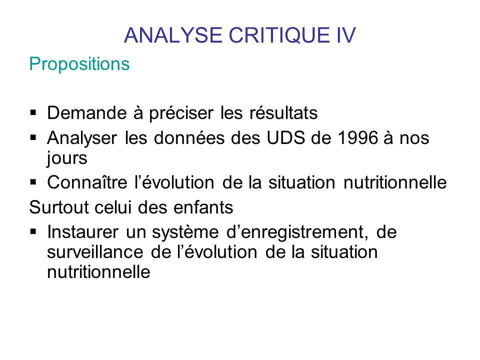 ANALYSE CRITIQUE IV Propositions Demande à préciser les résultats Analyser les données des UDS de 1996 à nos jours Connaître lévolution de la situatio