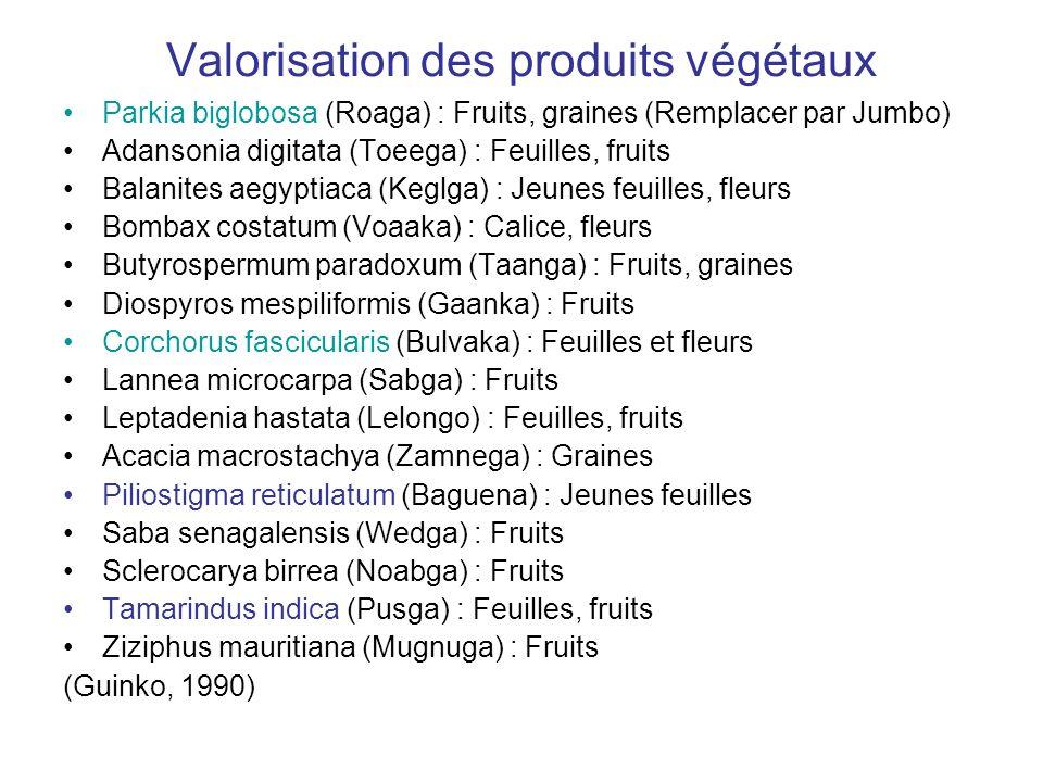 Valorisation des produits végétaux Parkia biglobosa (Roaga) : Fruits, graines (Remplacer par Jumbo) Adansonia digitata (Toeega) : Feuilles, fruits Bal