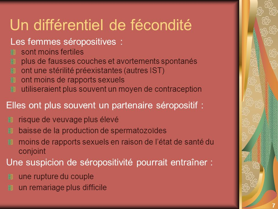 7 Un différentiel de fécondité sont moins fertiles plus de fausses couches et avortements spontanés ont une stérilité préexistantes (autres IST) ont m