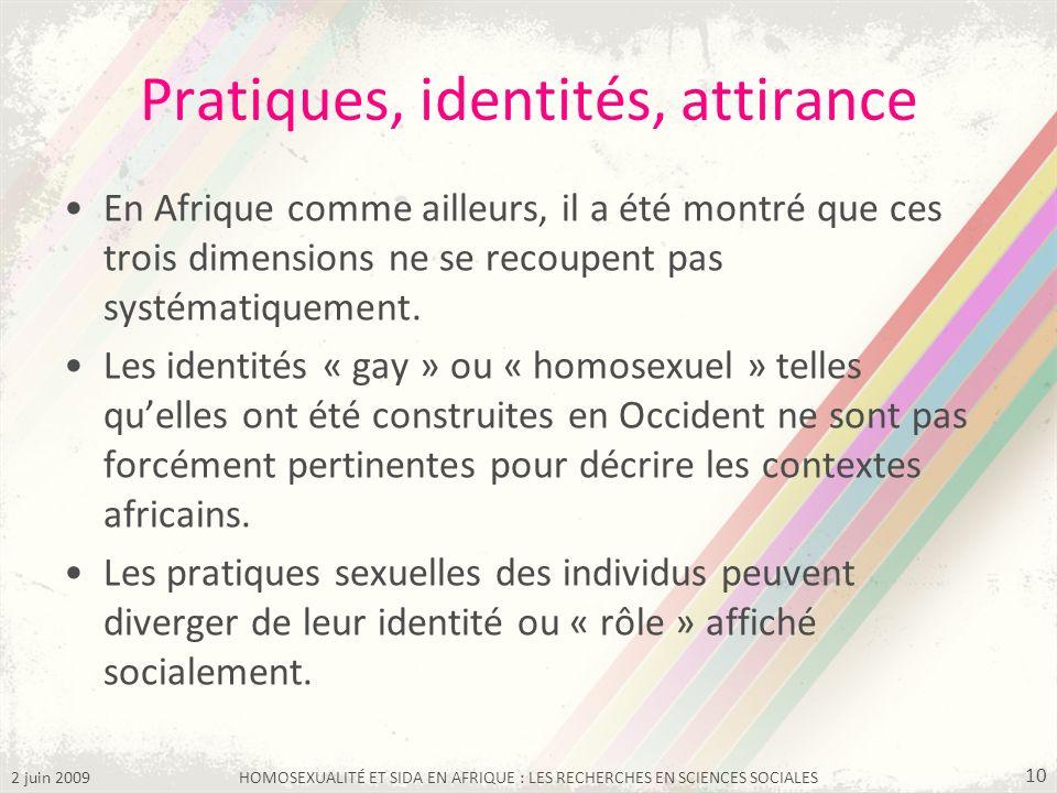 2 juin 2009HOMOSEXUALITÉ ET SIDA EN AFRIQUE : LES RECHERCHES EN SCIENCES SOCIALES 10 Pratiques, identités, attirance En Afrique comme ailleurs, il a é
