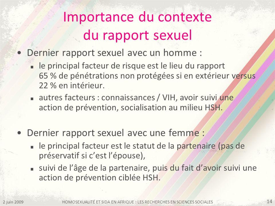 2 juin 2009HOMOSEXUALITÉ ET SIDA EN AFRIQUE : LES RECHERCHES EN SCIENCES SOCIALES 14 Importance du contexte du rapport sexuel Dernier rapport sexuel a
