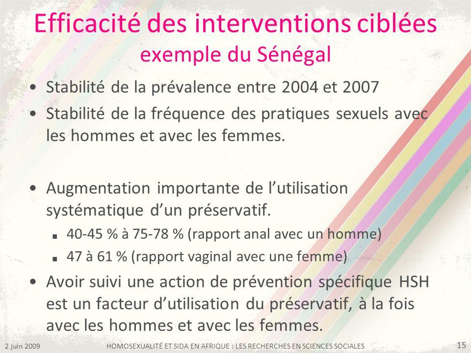 2 juin 2009HOMOSEXUALITÉ ET SIDA EN AFRIQUE : LES RECHERCHES EN SCIENCES SOCIALES 15 Efficacité des interventions ciblées exemple du Sénégal Stabilité