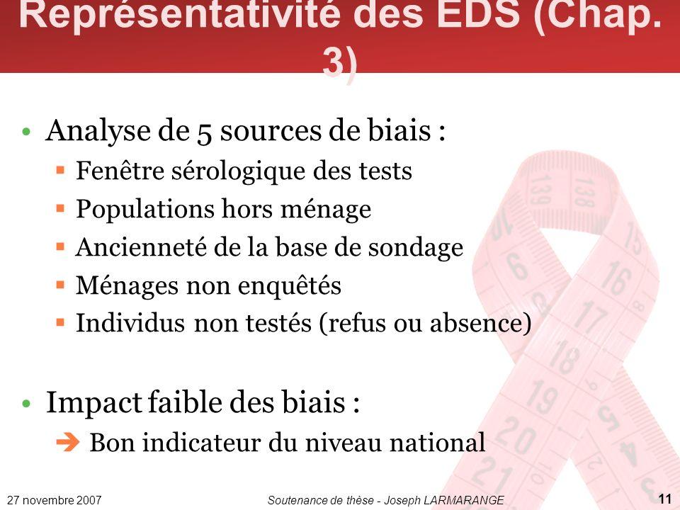 27 novembre 2007Soutenance de thèse - Joseph LARMARANGE 11 Représentativité des EDS (Chap. 3) Analyse de 5 sources de biais : Fenêtre sérologique des