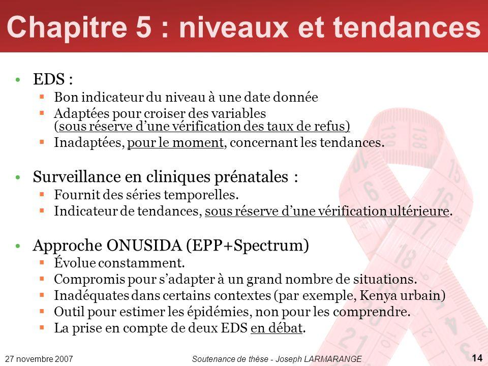 27 novembre 2007Soutenance de thèse - Joseph LARMARANGE 14 Chapitre 5 : niveaux et tendances EDS : Bon indicateur du niveau à une date donnée Adaptées