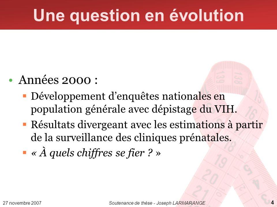 27 novembre 2007Soutenance de thèse - Joseph LARMARANGE 4 Une question en évolution Années 2000 : Développement denquêtes nationales en population gén