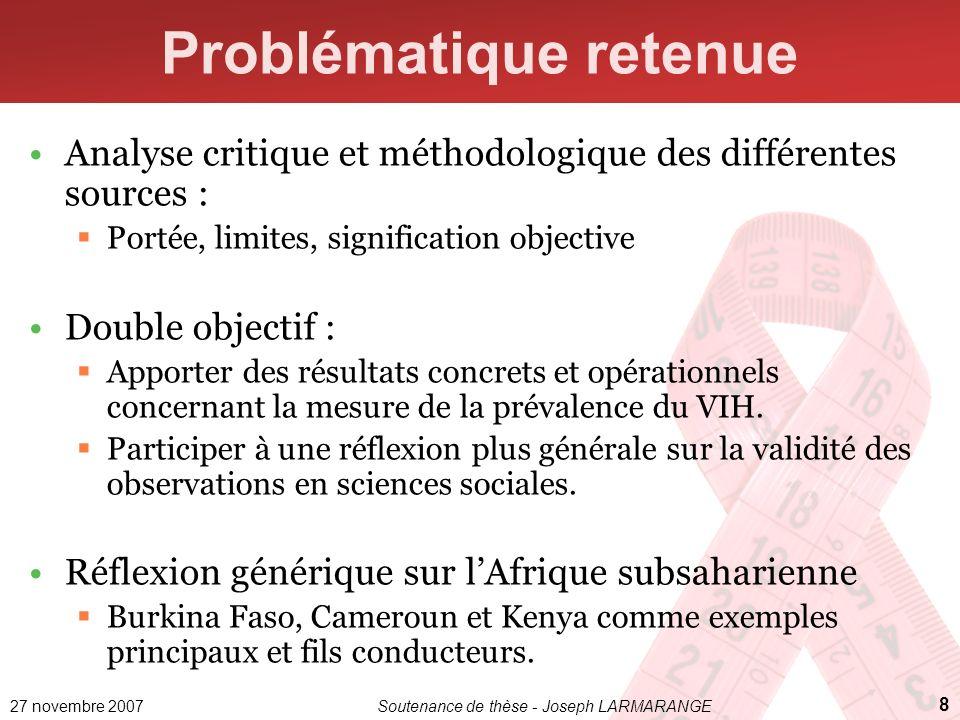 27 novembre 2007Soutenance de thèse - Joseph LARMARANGE 8 Problématique retenue Analyse critique et méthodologique des différentes sources : Portée, l