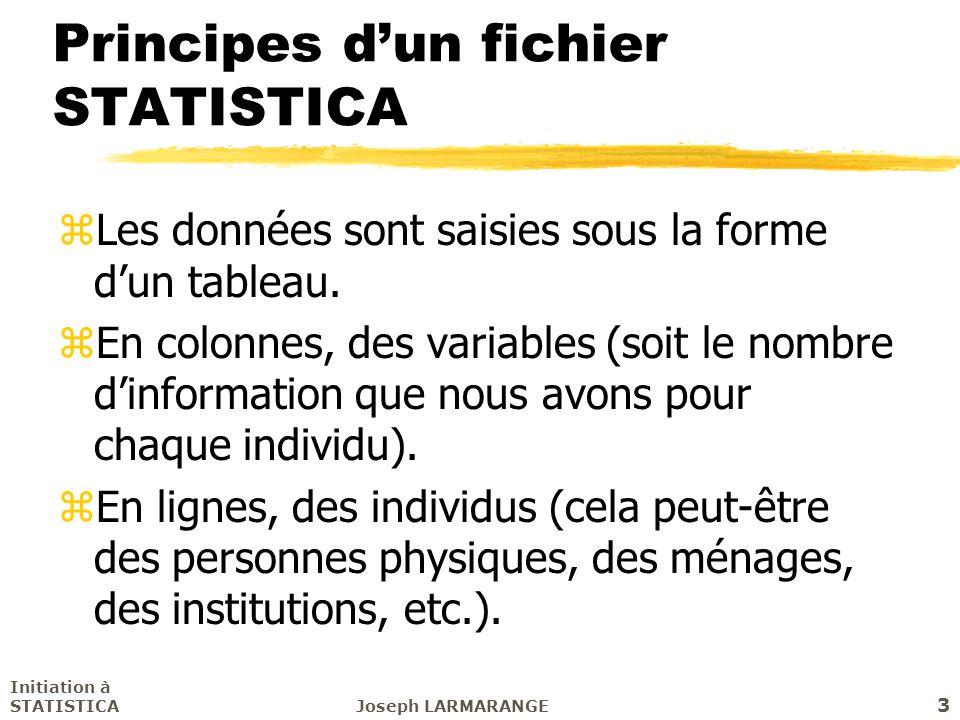 Initiation à STATISTICAJoseph LARMARANGE 3 Principes dun fichier STATISTICA zLes données sont saisies sous la forme dun tableau. zEn colonnes, des var