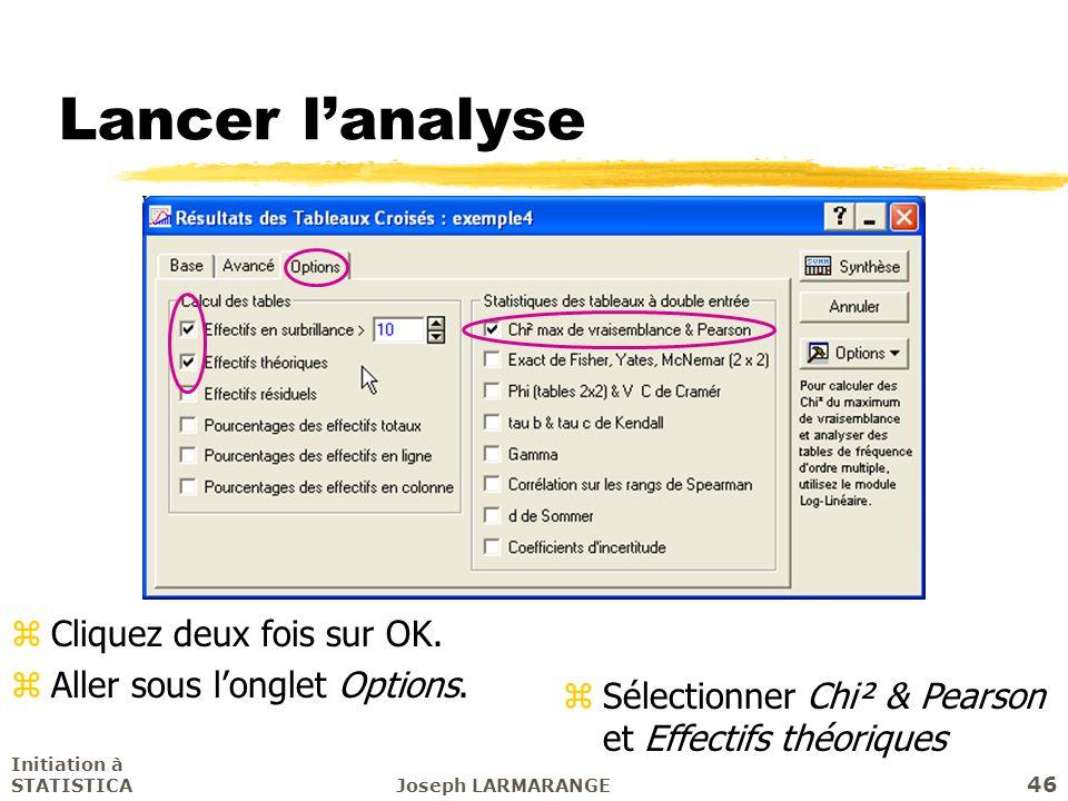 Initiation à STATISTICAJoseph LARMARANGE 46 Lancer lanalyse zCliquez deux fois sur OK. zAller sous longlet Options. zSélectionner Chi² & Pearson et Ef