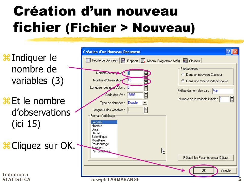 Initiation à STATISTICAJoseph LARMARANGE 5 Création dun nouveau fichier (Fichier > Nouveau) zIndiquer le nombre de variables (3) z Et le nombre dobser
