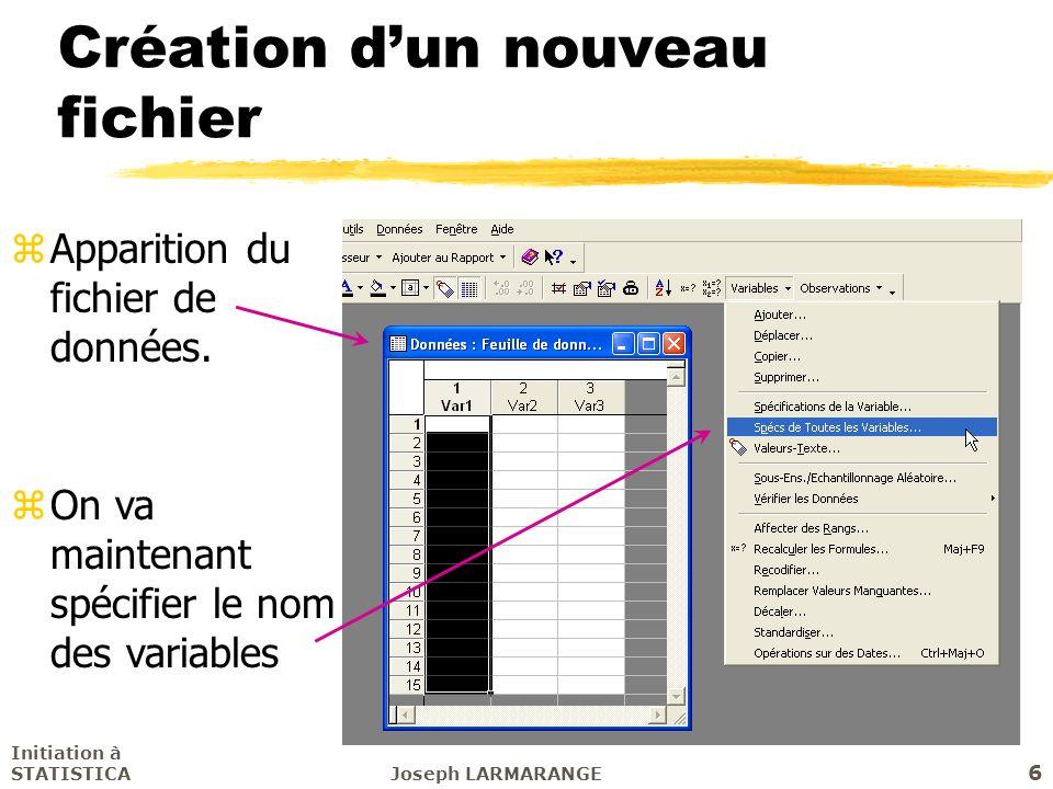 Initiation à STATISTICAJoseph LARMARANGE 6 Création dun nouveau fichier zApparition du fichier de données. zOn va maintenant spécifier le nom des vari