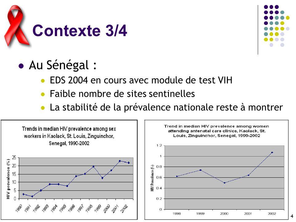 5 Contexte 4/4 Au Cameroun : EDS 2004 en cours avec module de test VIH « Pic » de prévalence en 2000 à 10-11% (pris en compte par ONUSIDA dans ses estimations de 2002) Cependant, retour à 6-7% dès 2001 Réalité de lépidémie ou variation du système de mesure .