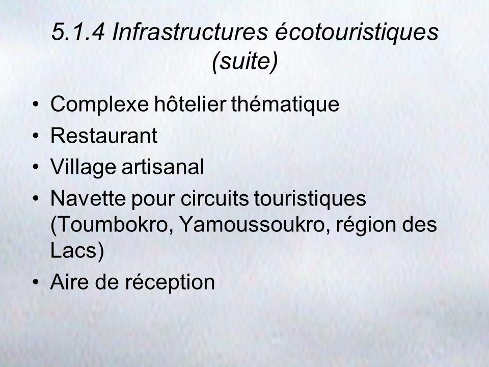 5.1.4 Infrastructures écotouristiques (suite) Complexe hôtelier thématique Restaurant Village artisanal Navette pour circuits touristiques (Toumbokro,